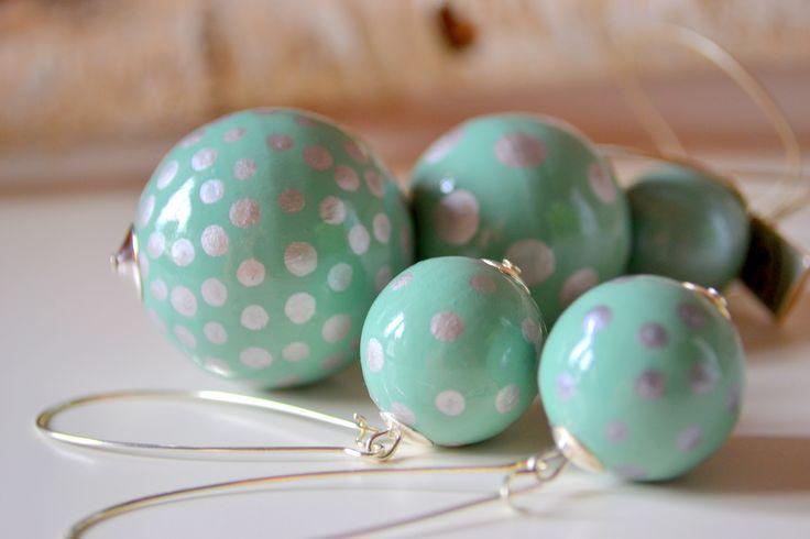 Baboon Yewellery#mint#wooden balls#handmade yewellery#dotted