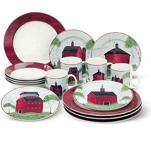 Warren Kimble Barns Dinnerware Set 16 Piece Sakura By