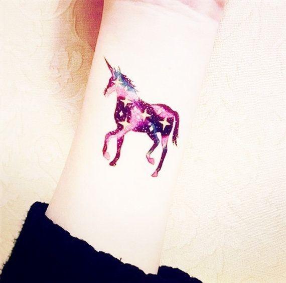 Splendid Galaxy Unicorn Watercolor Tattoo on Wrist