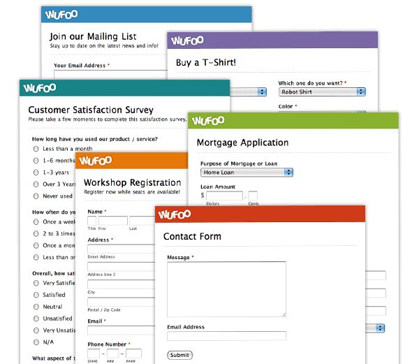 Wufoo is a web application that helps anybody build amazing online forms. We love the form-building interface and the clear, elegant forms it produces.  Reporting is also available and many useful stats are tracked automatically about each form you create.