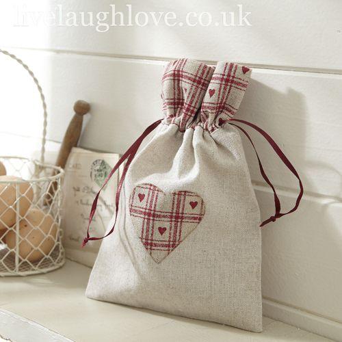 Country Heart Linen Drawstring Bag