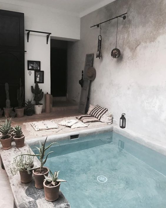 Awesome interior design inspiration for a rustic Spanish farmhouse style  a sunken bath in a bathroom, this will keep you cool and feel like inventive luxury in your home in the sun I.Contemporary Interior Trends To Not Miss. The Best of home indoor in 2017.