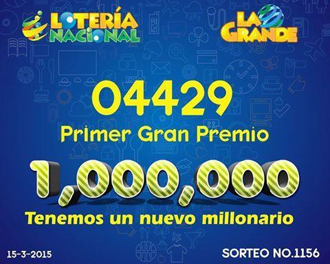 Resultados sorteo Loteria La Grande del domingo 15-3-15