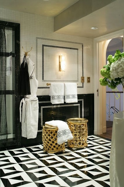Patterned Floor Black White Marble Bathroom Inspiration For Work Trades