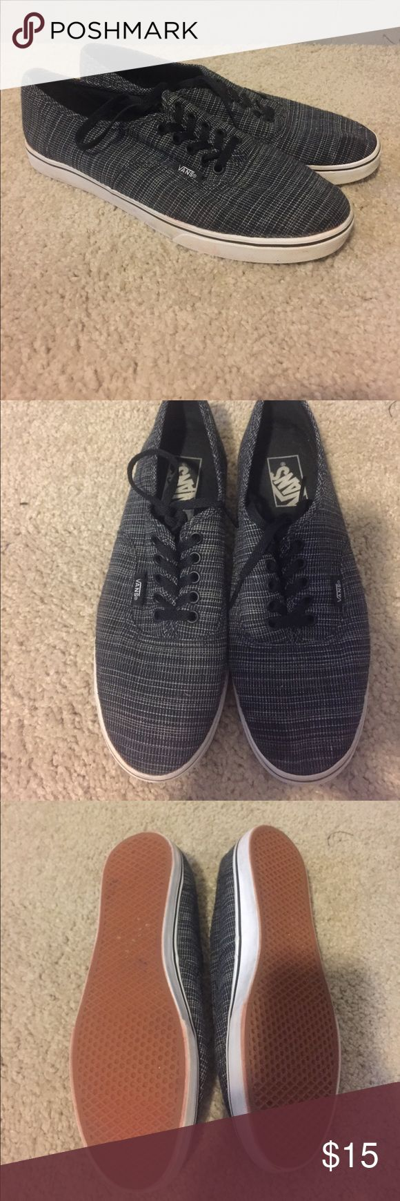 Vans, worn once Worn once Vans, the design is like a denim blue and white colors. The sole has a bit of red coloring from the red/orange gravel I have at my house. I tried to take off as much as possible after I noticed. True 8.5 Vans Shoes Sneakers