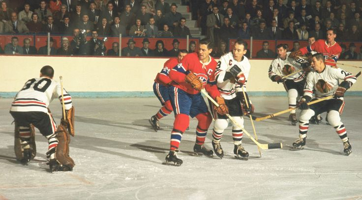 Jean Beliveau and Pierre Pilote | Montreal Canadiens | Chicago Blackhawks | NHL | Hockey