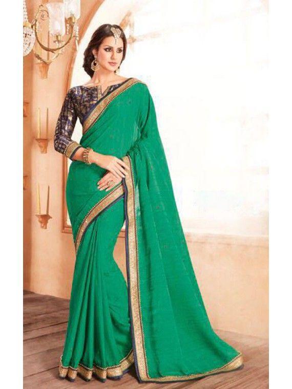 Tempting Jade Green Online Designer saree