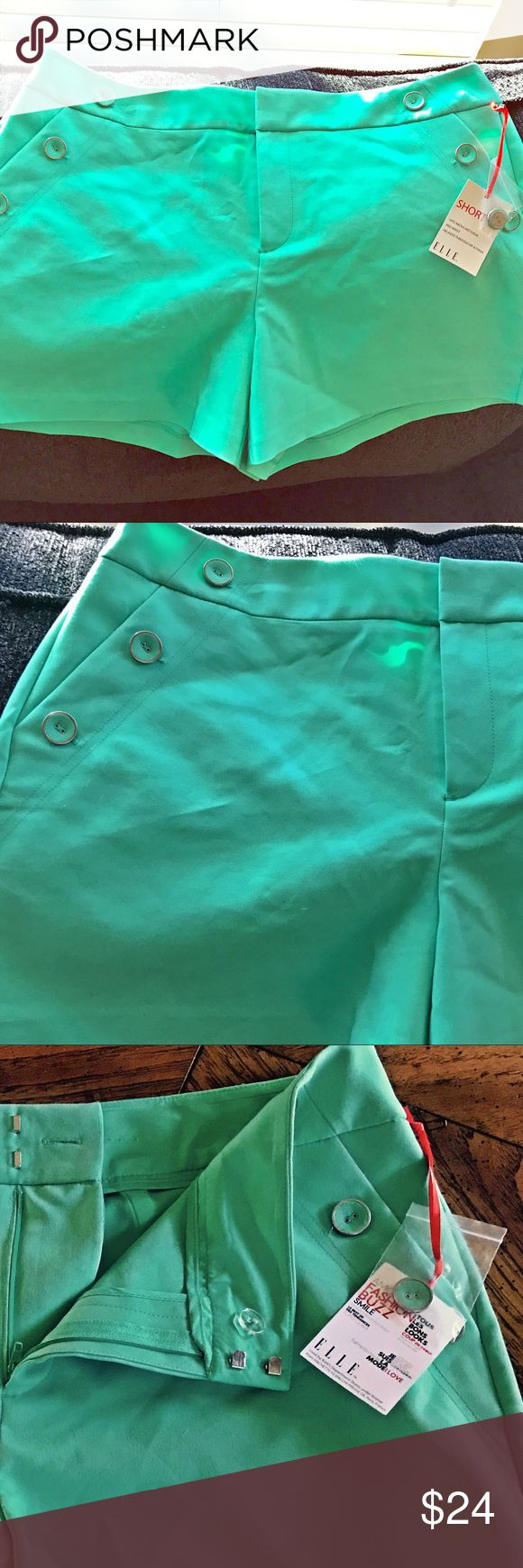 Mint Green Elle Dressy Shorts, NEW WITH TAGS I love these💚 and if they still fit me I'd keep them!!  I forgot about them and now they are too big for me.  This style is dressy and stylish and a perfect soft shade of pistachio green.  Tags attached including extra buttons. 👗👚. All pockets are still sealed 🤐 Elle Shorts