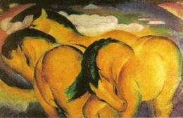 This hand crafted stretched canvas of Franz Marc, 'Little Yellow Horses' is a museum quality reproduction of the original work. Shipped to you finished and ready-to-hang, it is a welcome addition to a