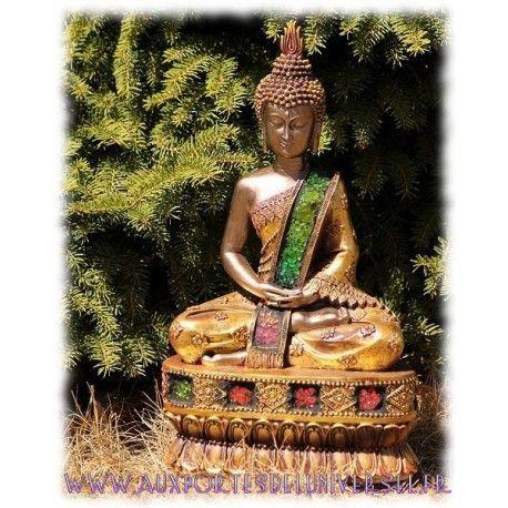 Statuette Bouddha thaï verre craquelé disponible sur la boutique ésotérique en ligne Aux Portes de l'Universel