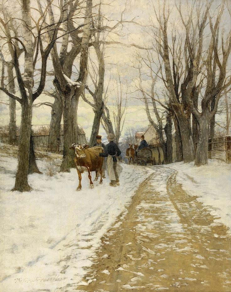 Victor Forssell (1846-1931): Män med kreatur på byväg, 1909