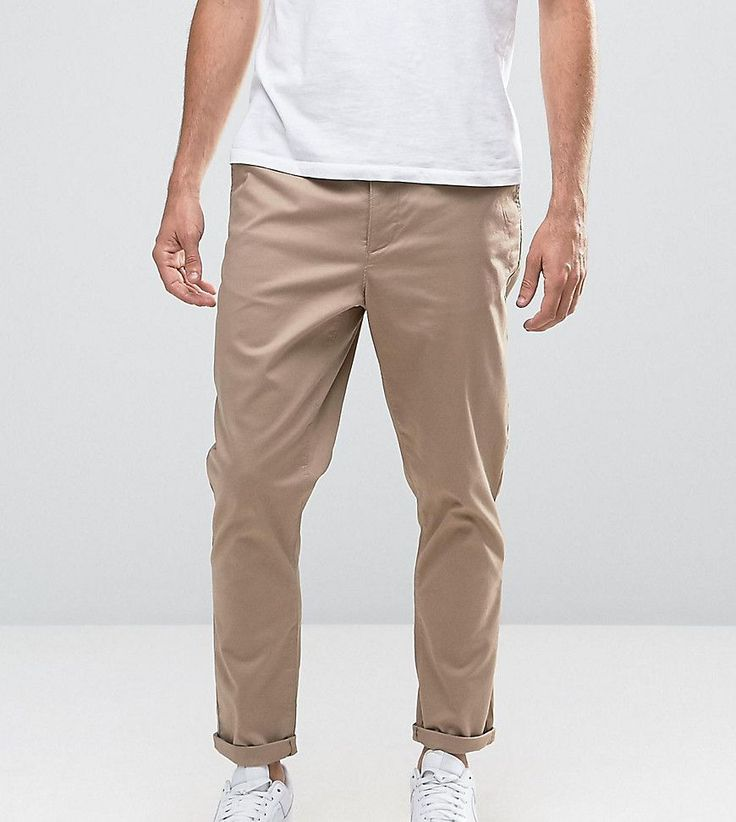 ASOS TALL Tapered Chinos In Stone - Stone
