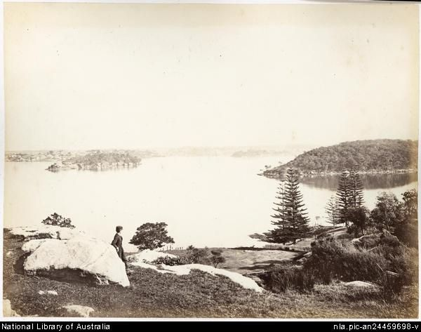 Ball's Head and Goat Island from North Shore, Sydney Harbour c 1860-75