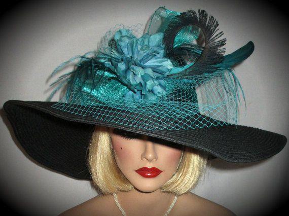 LADY JADE  Black Wide Brim Derby Hat With by AllThatJazzDesign, $85.00