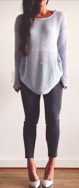 #fall #fashion casual / gray knit