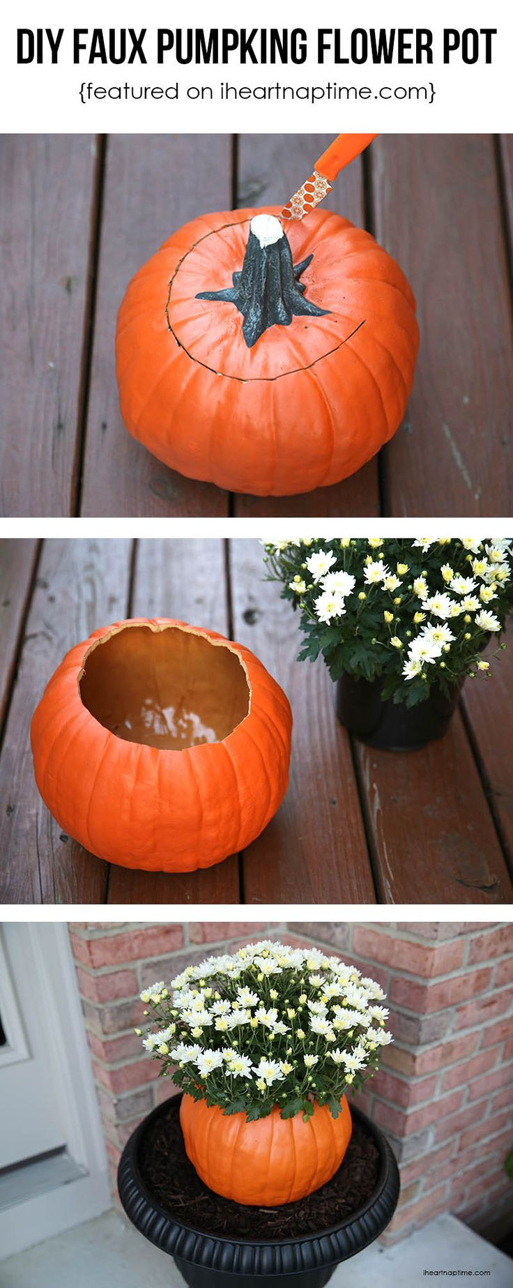 No more squishy pumpkins by Halloween- DIY faux pumpkin flower pot tutorial via I Heart Naptime