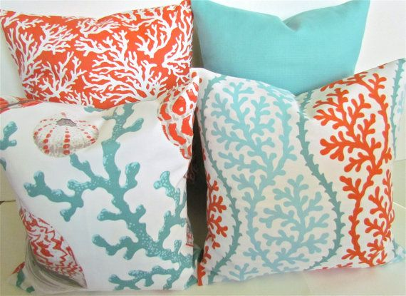 THROW PILLOWS 16x16 CORAL Throw Pillow Covers Orange Coral 16 x 16 Aqua Mint Green Decorative Throw pillows Indoor Outdoor