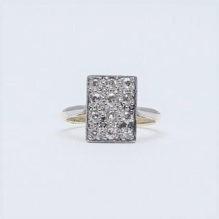 Art Deco Diamond Panel Yellow Gold And Platinum Ring