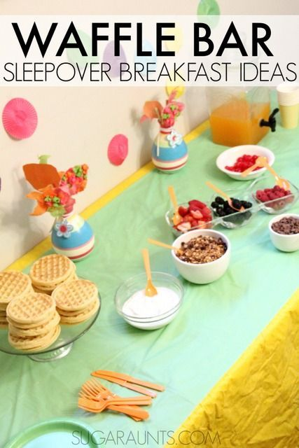 Set up a waffle bar for a special sleepover breakfast.  Easy and self-serve breakfast ideas!