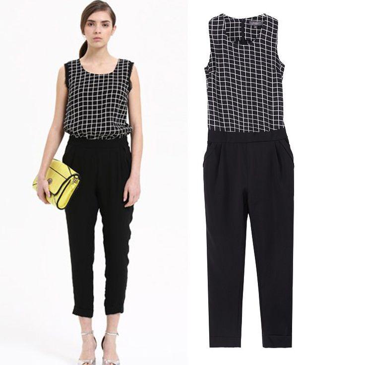 LILY2014 летние новые черно-белые клетчатые рукавов комбинезон брюки колготки женщин сшивание Брюки женские брюки - Taobao
