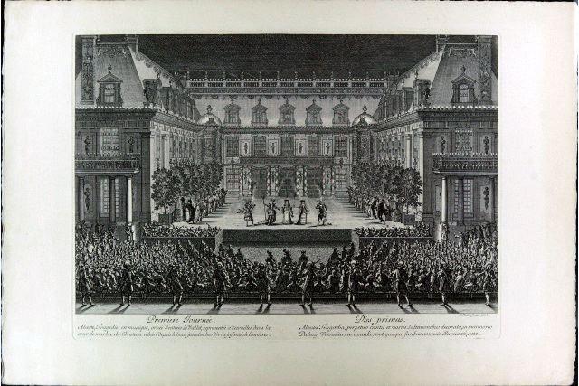 Premiere journée. Alceste, tragédie en musique, ornée d'entrées de ballet, representée à Versailles dans la cour de marbre du Chasteau éclairé depuis le haut jusqu'en bas d'une infinité de lumières