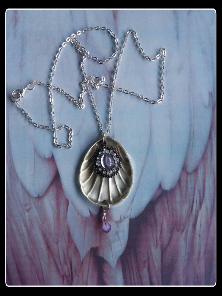 Handmade silver sugar spoon purple pendant by AnnasHaberdashery on Etsy