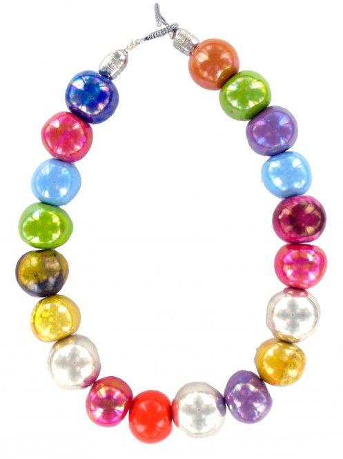 """modèle """"SMOOTHIE"""" de la collection Bonbon. Perles de céramique en 20mm / Perles Raku / Perles argentée Fermoir en T – Métal argenté http://www.demoiselles-cherbourg.com/produit/smoothie-orange/"""