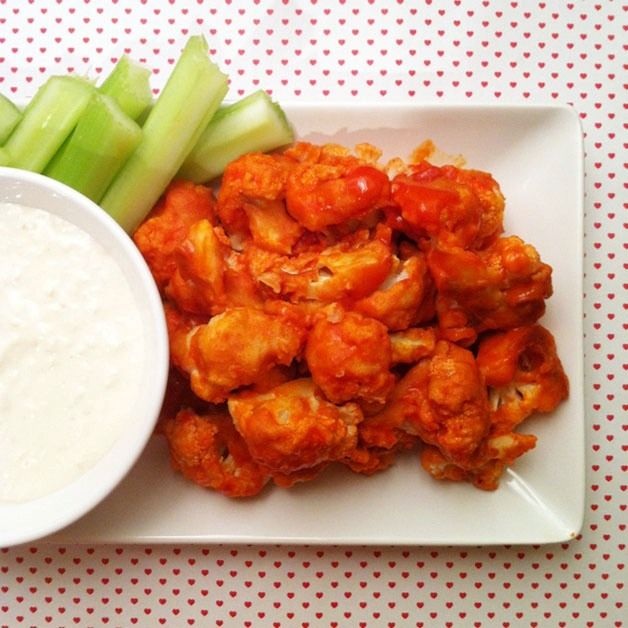 I am not a vegan and I don't like cauliflower - but this actually looks/sounds good - Vegan Buffalo Cauliflower Bites - oh-and it's baked, not fried.