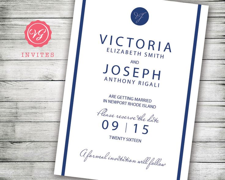 Navy Blue Save The Date Announcement   Inexpensive Wedding Invitation  Designs   Designer Wedding Invitations By