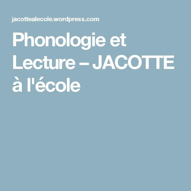 Phonologie et Lecture – JACOTTE à l'école