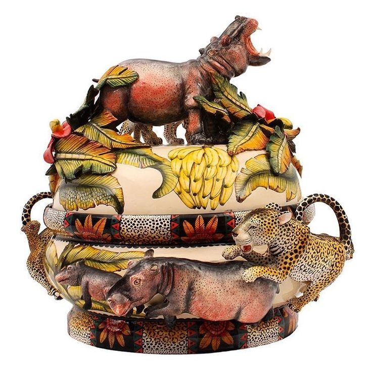 Thabo Mbhele and Siyabonga Mbaso have created this magnificent leopard and hippo tureen in celebration of our Zambezi collection. #Ardmore #ardmoreceramics #zambezi #hippo #leopard #bananaplant #ardmoreartists