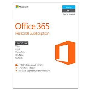 Microsoft Office 365 Personal 32/64-bit - Subscription License - 1 PC/Mac, 1 Phone, 1 Tablet