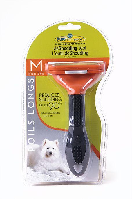 Furminator Outil Professionnel pour Limiter la Chute de Poils pour Chiens à Poil Long Moyen Aide à réduire la perte de poils jusqu'à 90%. Son bord en acier inoxydable atteint facilement le sous-poil pour retirer en toute sécurité les poils morts, sans endommager le pelage ni risquer de couper ou d'irriter la peau. Pour les chiens allant de 21 à 50 lbs