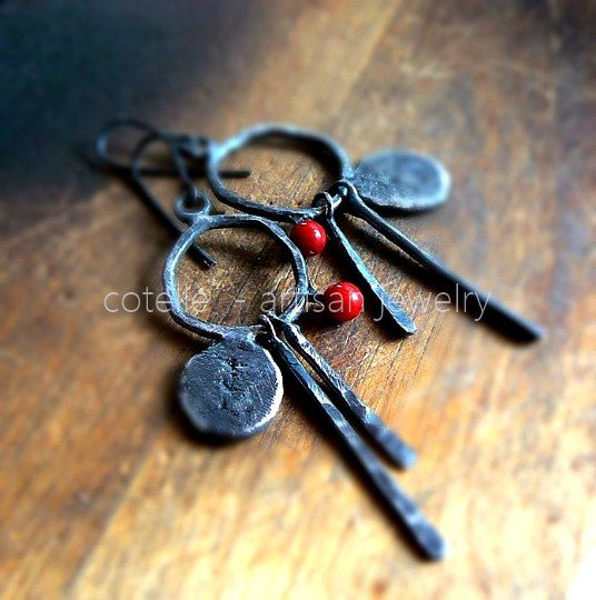 Red Coral Earrings and Raw Sterling Silver  Artisan by COTELLE
