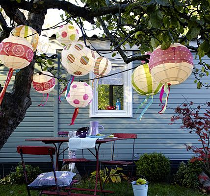 Dicke Windsbräute Um die Glühbirnen einer langen Partylichterkette jeweils eine runde Reispapierlampe hängen, die vorher mit bunt gemusterten Serviettenstreifen oder -kreisen fantasievoll beklebt wird. Unten lange Papierbänder und Perlenschnüre anknoten. Lampe Durchschnitt: 45 cm. Lampenschirme: Ikea, Preis: 2,99 Euro Lichterkette: Hubert Light & Sounds, Preis: nach Auswahl www.ikea.de www.party-lichteffekte.de