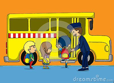 Go to school riding school bus