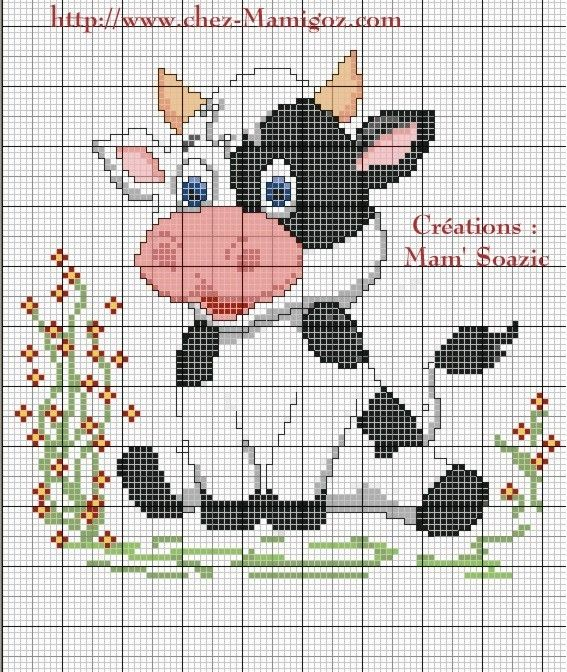( Grilles à broder gratuites ) Fred m'a demandé une vache pour habiller une boite de conserve, ( Boulettes chien 1,240 kg ) comme je l'avais…