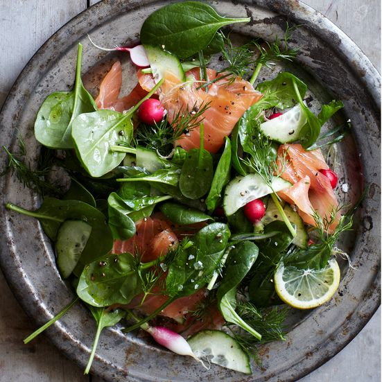 Spinach and Smoked Salmon Salad with Lemon-Dill Dressing Recipe - Melissa Rubel Jacobson | Food&Wine