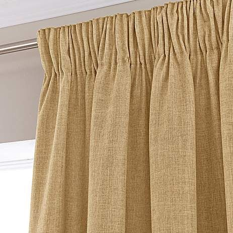 Vermont Ochre Lined Pencil Pleat Curtains | Dunelm