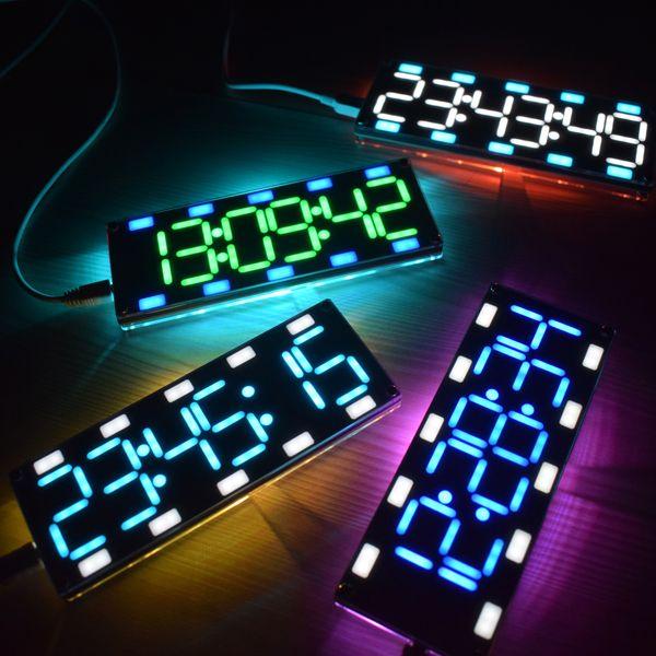 DIY 6 Digit LED большой экран двухцветный цифровой Трубка рабочий стол Часы Набор Сенсорное управление