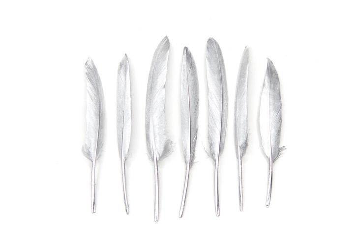 "Excited to share the latest addition to my #etsy shop: Silver Goose Feathers 4-6"" Long - Hand painted - Great for weddings, birthdays, crafts, jewellery, DIY decorations + dream catchers!"