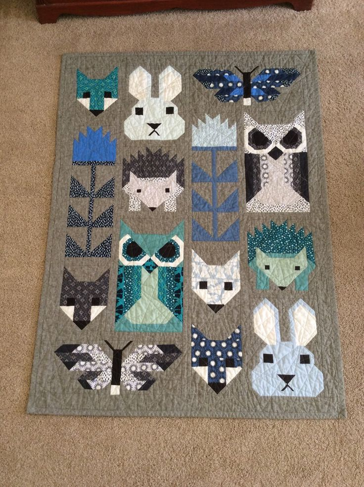 "Handmade baby quilt "" The Fancy Forest"" animal quilt by florenceanthemachine on Etsy"
