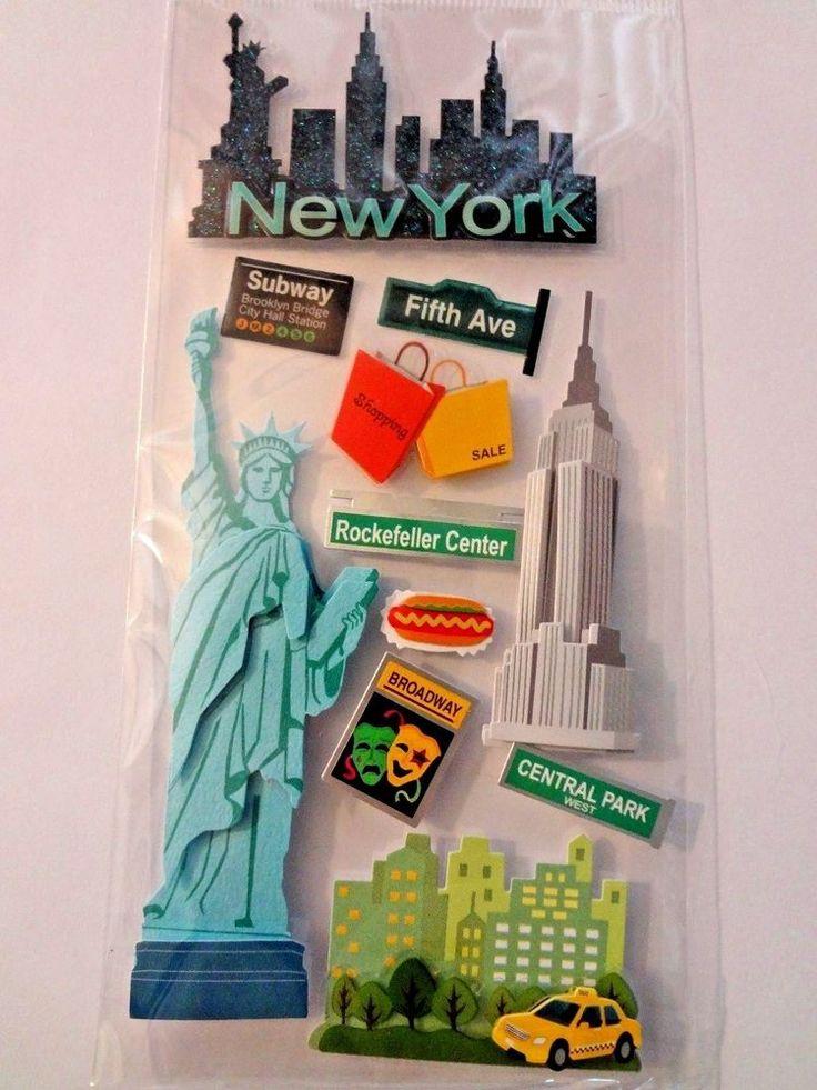 "RECOLLECTIONS/ JOLEES ""NEW YORK"" Statue of Liberty 3D  Scrapbook Stickers  #EKSuccess"