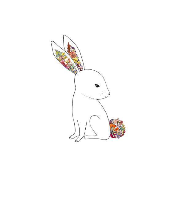 Bunny, flowers. 8x10 print