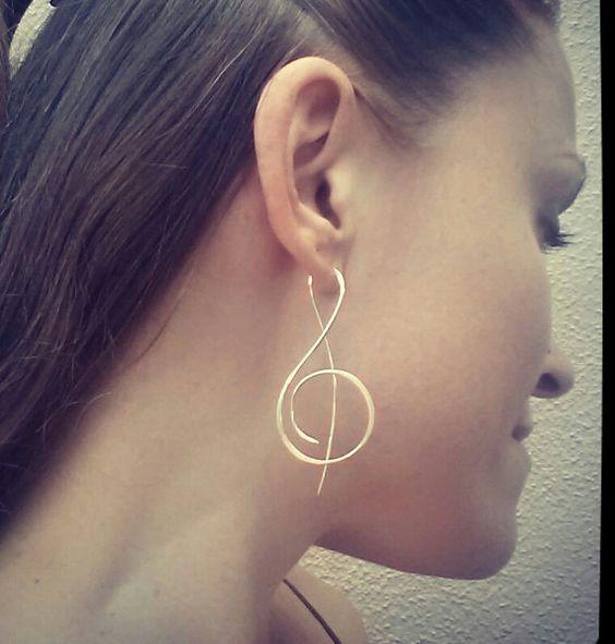 Treble Clef Earrings, Threader Earrings, Custom Earrings, Music Note Earrings, Silver Earrings, Simple Earrings, Free US Shipping