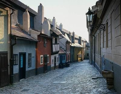 Golden Lane, Prague. Even I had to duck through the tiny shop doors! One of my favorite places in the city.
