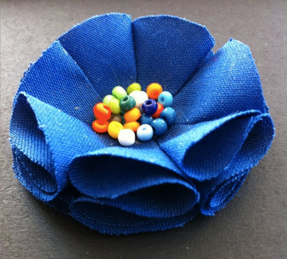 Marine Blue Daisy Brooch by TheGentleFlower on Etsy, $15.00