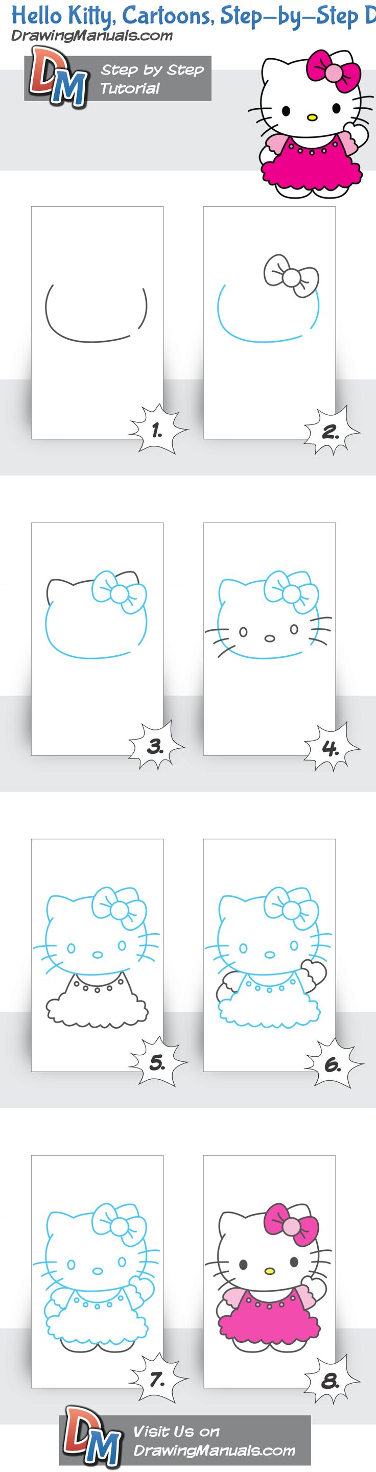 Hello Kitty, Cartoons, Step-by-Step Drawing Tutorial