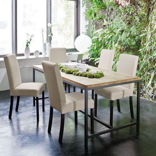 Chaise à housser en tissu et bois blanche