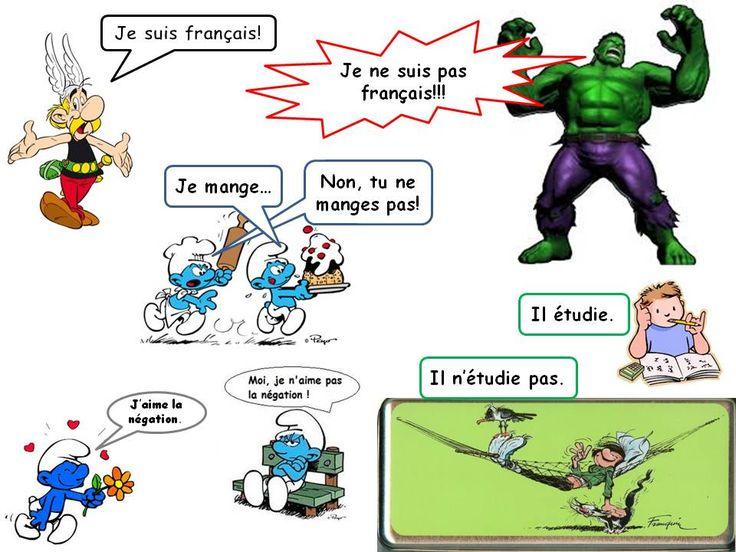 Exemples de négation verbale (avec des personnages fameux de BD...).